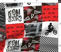 Motocross Motorcross Grunge Red Modern Fabric Printed by Spo