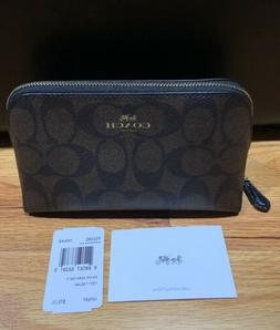 New Coach Signature Brown Black Canvas Cosmetic Pouch Bag F5