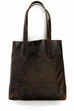 Ladies oil pull leather shopper hobo tote bag