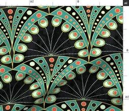 Peacock Feather Art Nouveau Geometric Deco Fabric Printed by