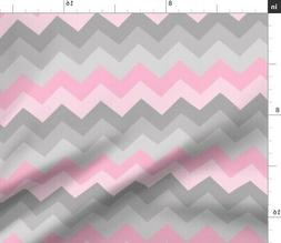 Pink Gray Chevron Grey And Ombre Fabric Printed by Spoonflow