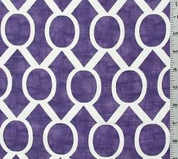 Purple Ivory Lattice Canvas Slub Cotton Fabric Premier Print