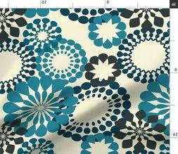 Retro Flowers Background Blue Light Yellow Fabric Printed by