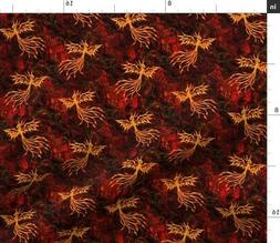 Rising Ashes Fire Flame Phoenix Fabric Printed by Spoonflowe