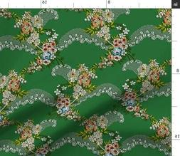 Rococo Historical Lace Georgian Green Floral Fabric Printed