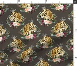 tiger boho fashion wild animal floral woodland