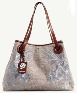 TOMMY BAHAMA Waikiki Tote, White & Tan Embroidered Canvas Le