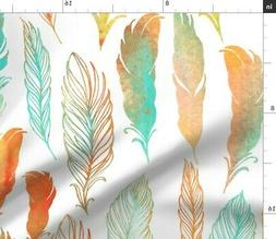 watercolor colorful feathers birds feather fabric printed