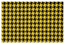 """Yellow and Black Houndstooth Canvas Tweed Fabric 55""""W Seat U"""